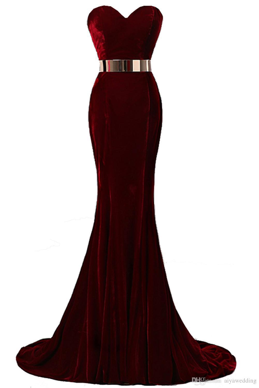 6008e694de6f 2019 Free Shopping Sweetheart Neck Mermaid Evening Dresses Velvet Burgundy  Metal Belt Formal Evening Gowns Prom Dresses Evening Dress Sewing Patterns  ...