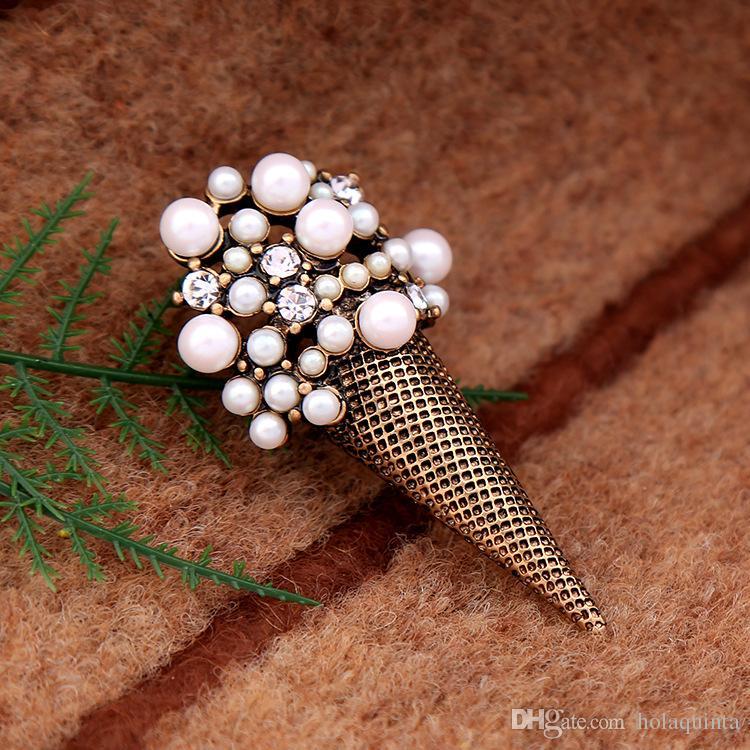 Jewelry Wholesale/Stylish Cute Simulated Pearl Ice cream Brooch Collar Pin Costume jewelry