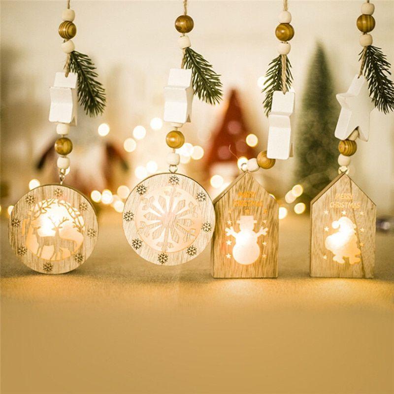 Christmas Wooden Pendants Ornaments Xmas Tree Ornament Diy Wood