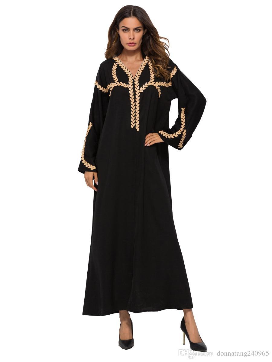 Acquista Usa Medio Oriente Musulmano Moda Donna V Collo Manica Lunga  Allentato Applique Cardigan Abito Lungo Ramadan Eid Abito Abaya Abito A   29.15 Dal ... 9a81934504e