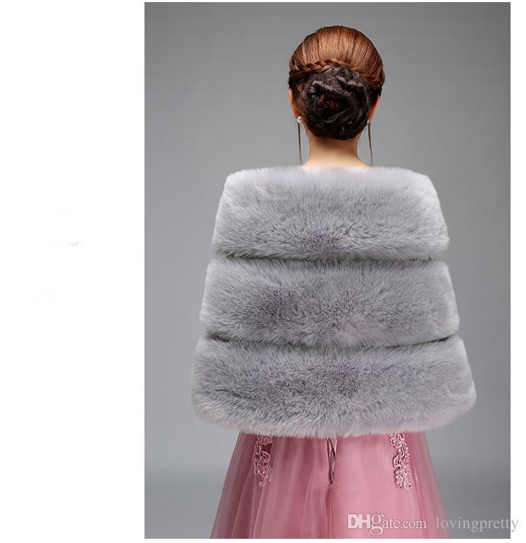 Jane Vini Winter Bridal Fox Faux Fur Shawl Cloak Wraps Cape Shrug Stole Bride Evening Dress Accessories Wedding Coat Bolero For Women
