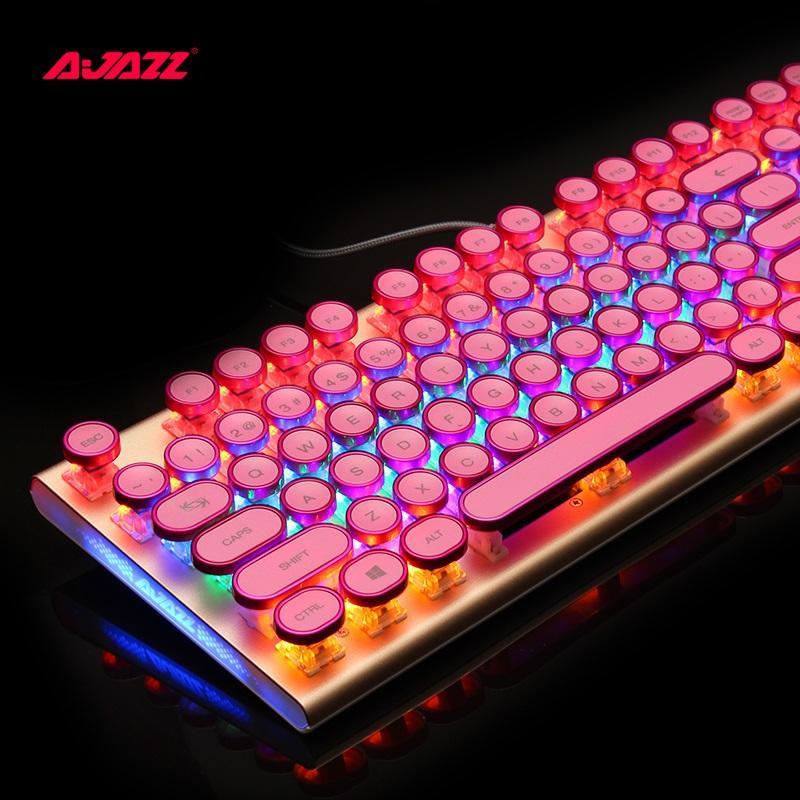 new photos e9501 52c33 Ajazz AK40 Retro Steampunk Typewriter USB Wired Ergonomic Monochrome RGB  Backlit Mechanical Gaming Keyboard N Key Rollover Picture Of Keyboard Pink  Keyboard ...