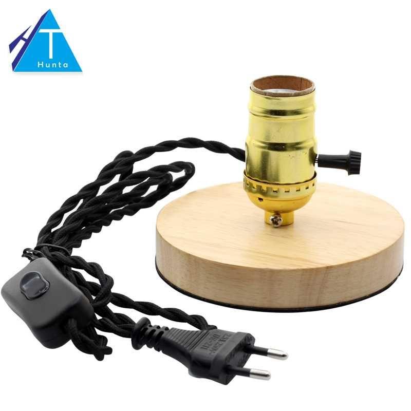 2019 E27 Vintage Wood Lamp Base Edison Desk Table Lamp Gold Holder