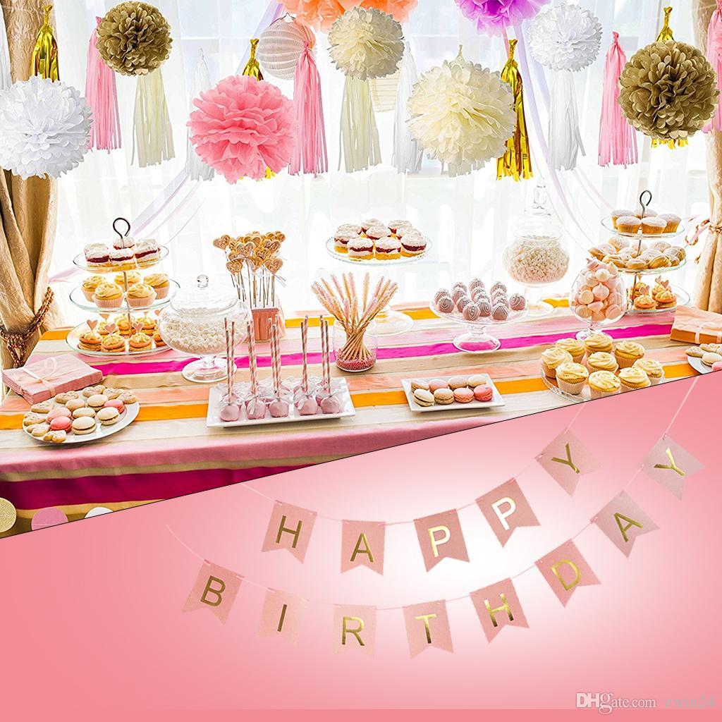 diy decoracion cumpleanos compre decoraciones de la fiesta de cumplea os de color rosa y dorado pom pom flores cumplea os