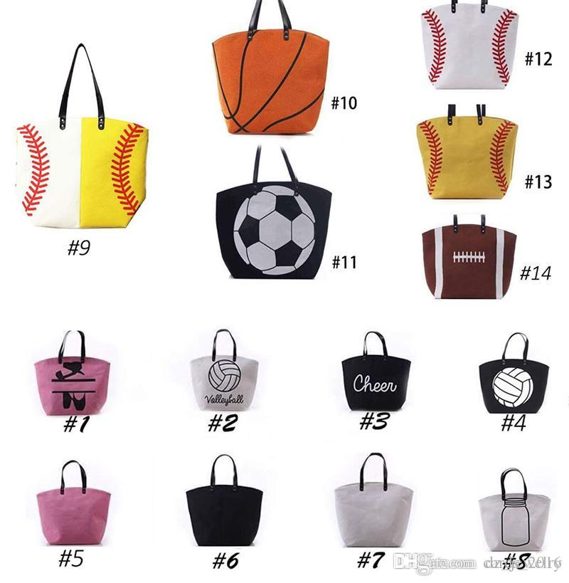 a77e820831 Cotton Canvas Softball Tote Bags Baseball Bag Football Bags Soccer Ball Bag  With Hasps Closure Sports Bag Childrens Handbags Girls Satchel Bags From ...