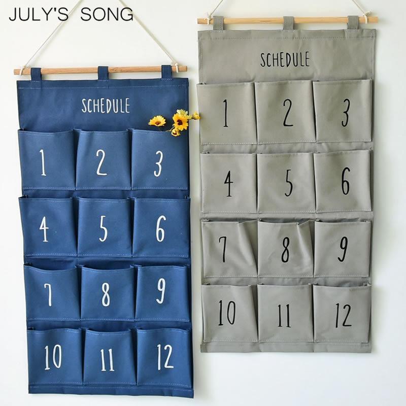 2019 Julys Song Number Pattern Hanging Storage Bag Wall Hanging