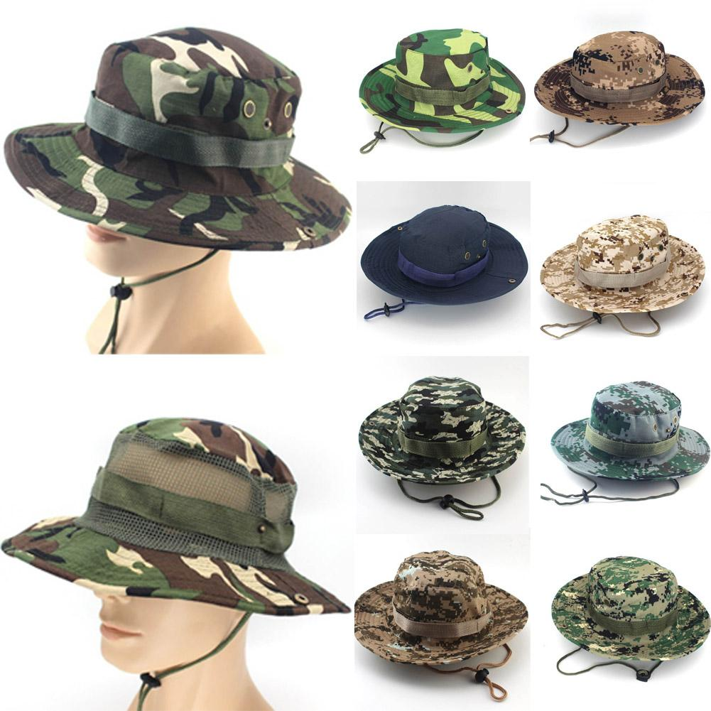 d445139046880 2019 2018 New Sun Hat Bucket Flap Hat Breathable Boonie Hunting Fishing  Outdoor Camouflage Hats Fishing Wide Brim Hats From Rainbowwo