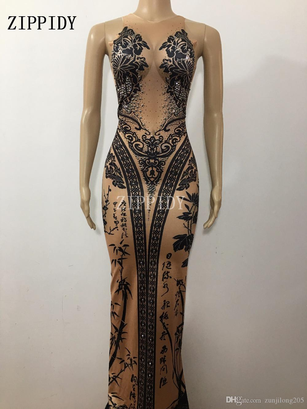 Chinese Bamboo Printed Long Dress Bright Crystals One-piece Costume Female Singer Nigjtclub Party Show Celebrate Outfit Clothes