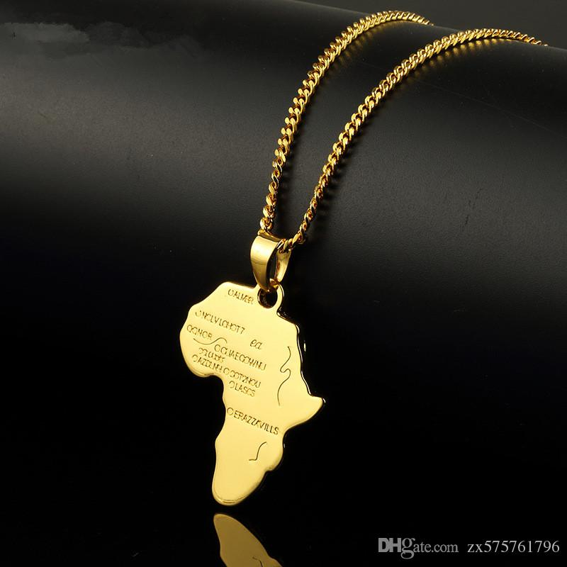 Wholesale trendy men gold silver africa map pendant necklaces wholesale trendy men gold silver africa map pendant necklaces fashion jewelry for 18k gold plated 60cm long chain micro hip hop rock mens mens pendant aloadofball Images