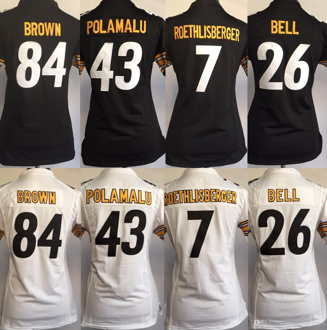 premium selection e63a6 ce1ef Pittsburgh Steelers Jersey Women 84 Antonio Brown 26 Le'Veon Bell 7 Ben  Roethlisberger 30 James Conner Jerseys Size: S-2XL
