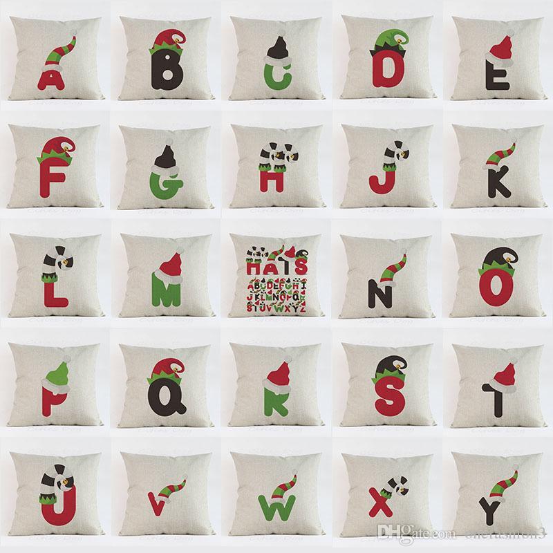 Compre Sombrero De Navidad Letra Alfabeto Imprimir Funda De Almohada  Almohadas Decorativas Funda De Cojín Para El Sofá En Casa Decoración De  Oficina De ... 300efdf8ee1