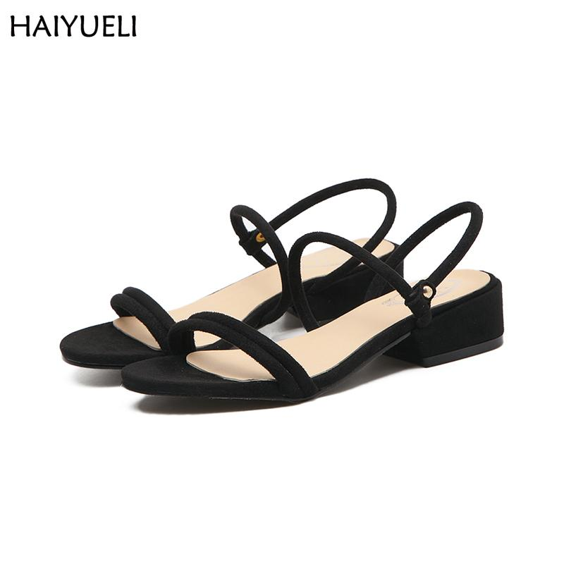 24002a7b8c0 Womens Shoes Summer 3.5 Cm Low Heel Sandals Casual Black Sandals Women  Suede Simple Shoes Fashion Ladies Sandals Canada 2019 From Yigu009