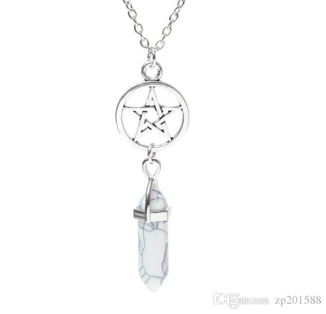 Hexagone Forme Chakra guérison pierre naturelle point Bullet Chakra Collier Vintage en argent chaîne collier pendentif pour les femmes Bijoux cadeau Nouveau