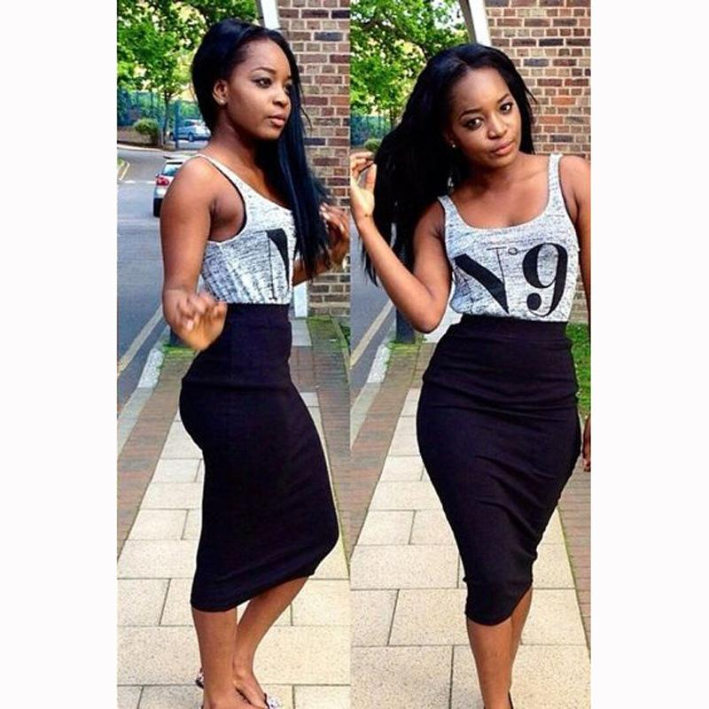 summer women skirt suit sleeveless vest + package hip skirt two sets Casual sexy gray black two-piece dress