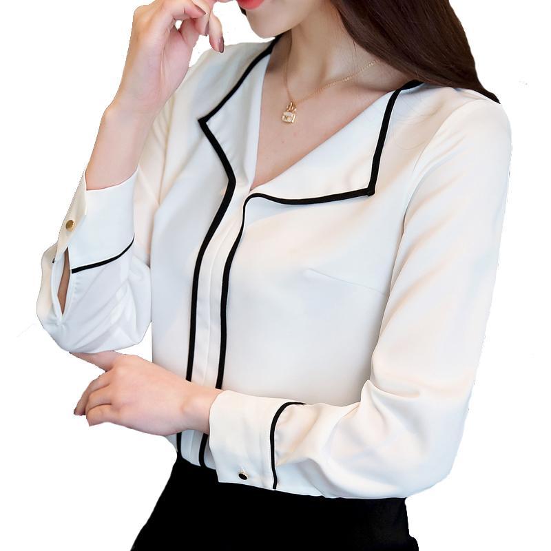 c6a35c804801 Женщины блузки V-образным вырезом рубашка 2018 осень корейской моды с  длинными ...