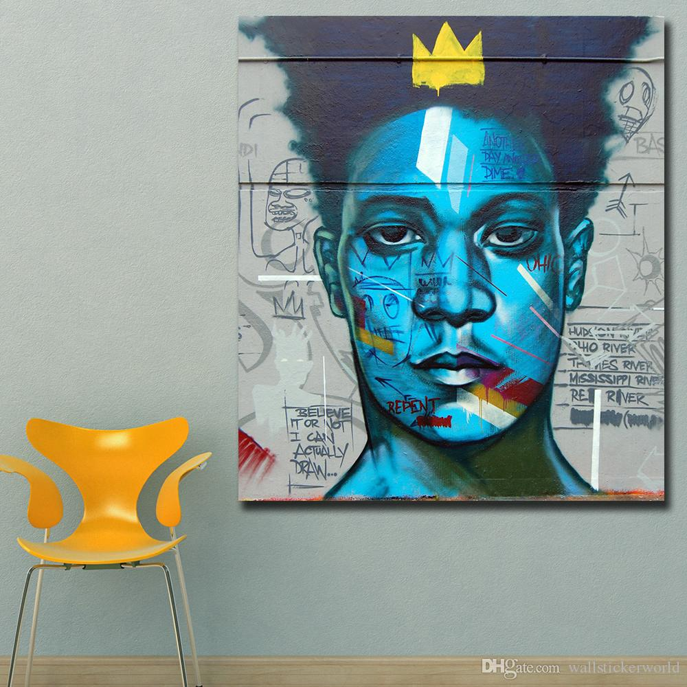 32807ffdb03 Large Size Wall Pictures For Living Room Abstract Basquiat Graffiti ...