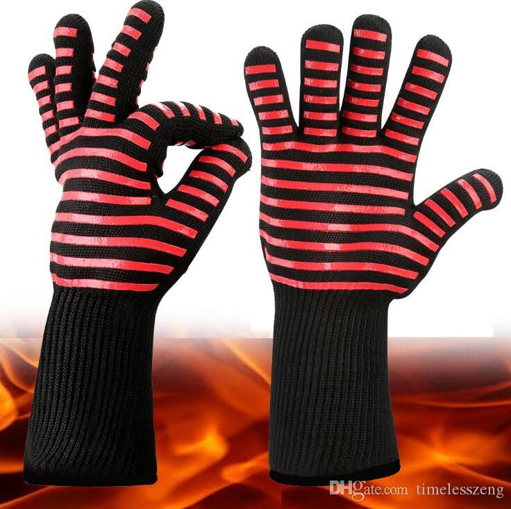 Extreme Heat Resistant Kitchen Barbecue Thick Silicon Oven Gloves BBQ Grill Long Glove For Extra Forearm Protection