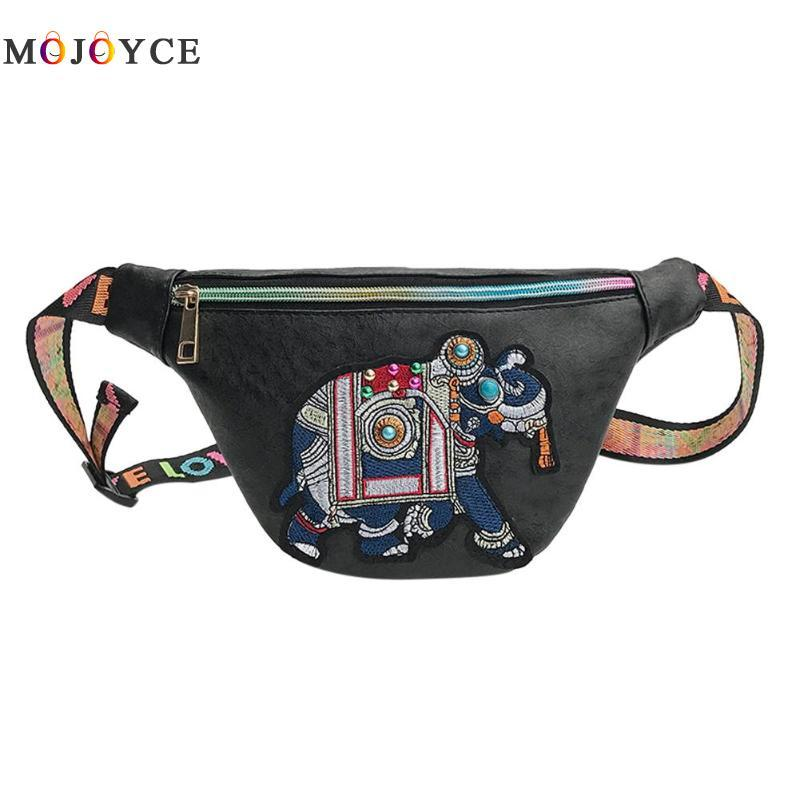 637c0b38426 Ethnic Women Leather Waist Bags Elephant Embroidery Fanny Pack Travel Sling  Shoulder Chest Belt Bag Shoe Bags Cute Fanny Packs From Tengdingshoe