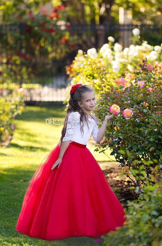 Abiti da ragazza di fiore principessa bianca rossa Collo a barchetta Mezze maniche Pizzo Tulle Lunghezza pavimento Abiti da festa matrimonio bambini