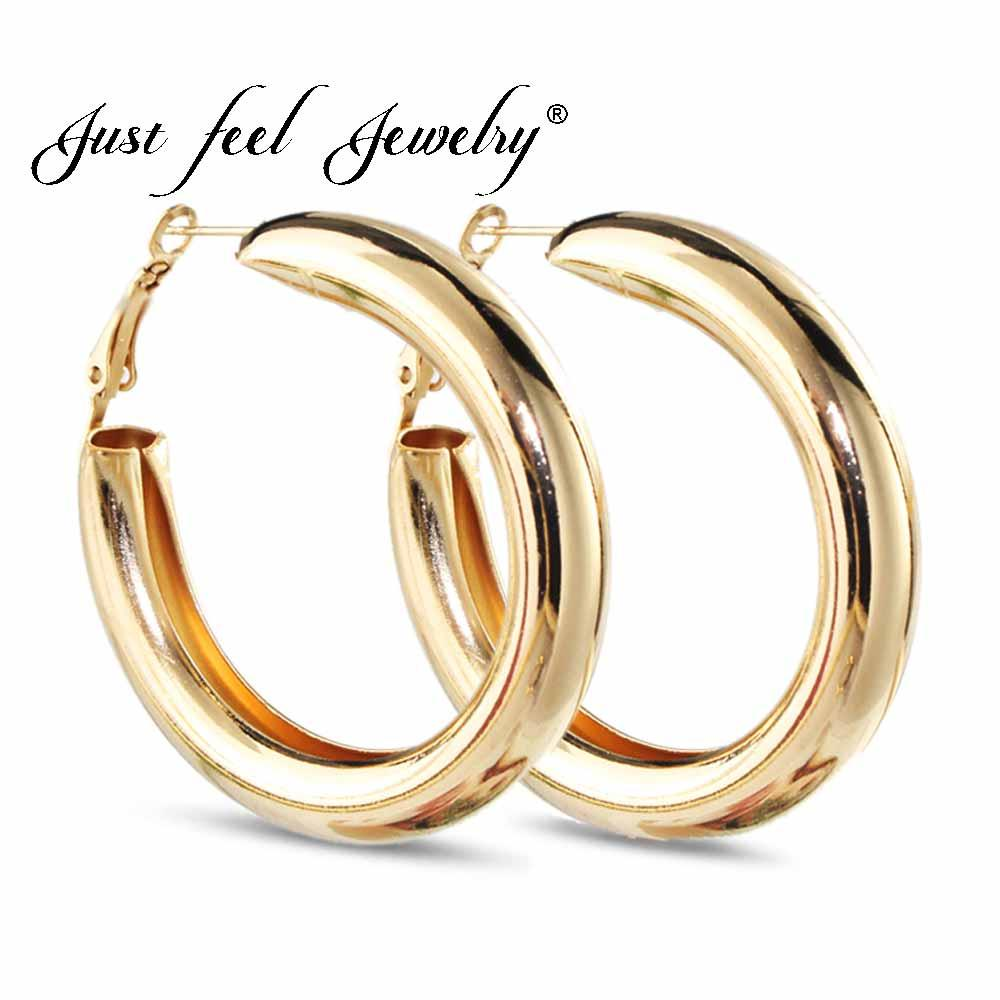 271a8a903f627 JUST FEEL 50 MM Big Gold Hoops Earrings Minimalist Thick Tube Round Circle  Rings Earring For Women Zinc Alloy Trendy Hiphop Rock