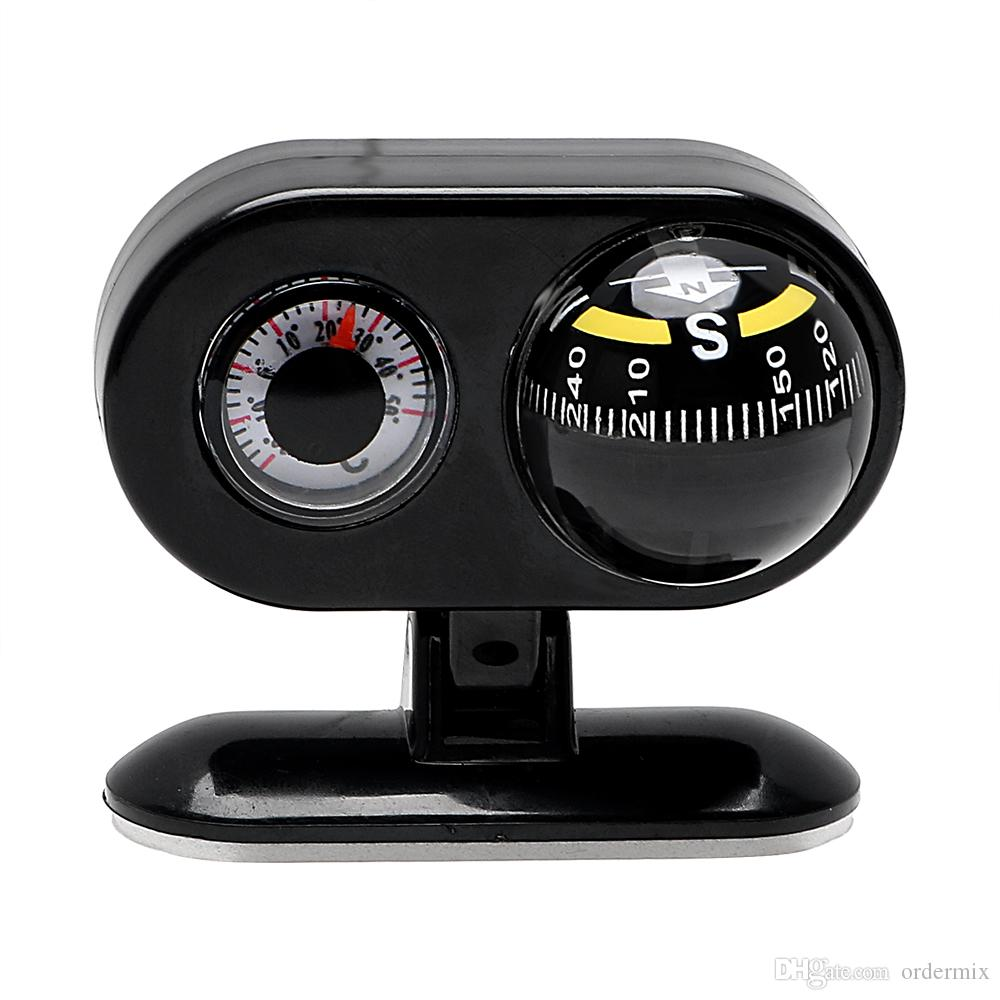 2 In 1 Car Compass And Thermometer Dashboard Guide Ball Navigation