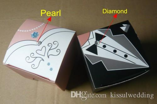 =Black Tux and White Gown Wedding Favor box in Square shape for Event and Party Gift box and Bridal favor