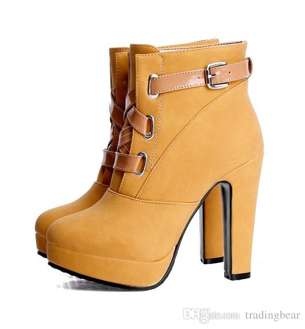 a53750d8737 Pink Yellow Chunky High Heel Ankle Boots Women Platform Shoes 12cm ...