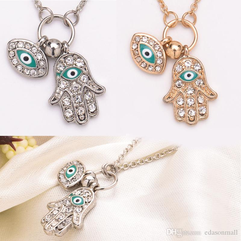 Wholesale womens hamsa necklace fatima hand of god lucky evil eye wholesale womens hamsa necklace fatima hand of god lucky evil eye charm layered pendant necklace jewelry sweater chain d541s charm necklace pendants from aloadofball Image collections