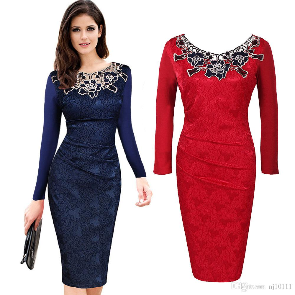6442226b1c 2019 DH034 Ladies Sister Party Frock Vintage Red Women Dresses Long Sleeve  Hollow Out Lace Casual Work Plus Size Elegant Pencil Winter Dress From  Nj10111