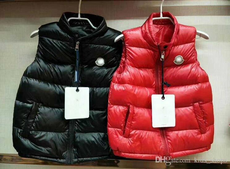 Brand kids thickened ultra-thin white duck down vest/boys and girls medium and large children stand collar plain wear down vest
