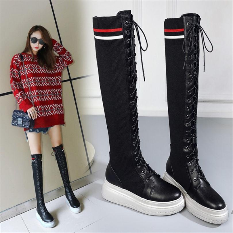 93154dd91ae NAYIDUYUN Women Cow Leather Stretch Over The Knee Long Boots Wedge Kniting Stocking  Thigh High Boots Round Toe Sneaker Shoes Black Combat Boots Chelsea ...