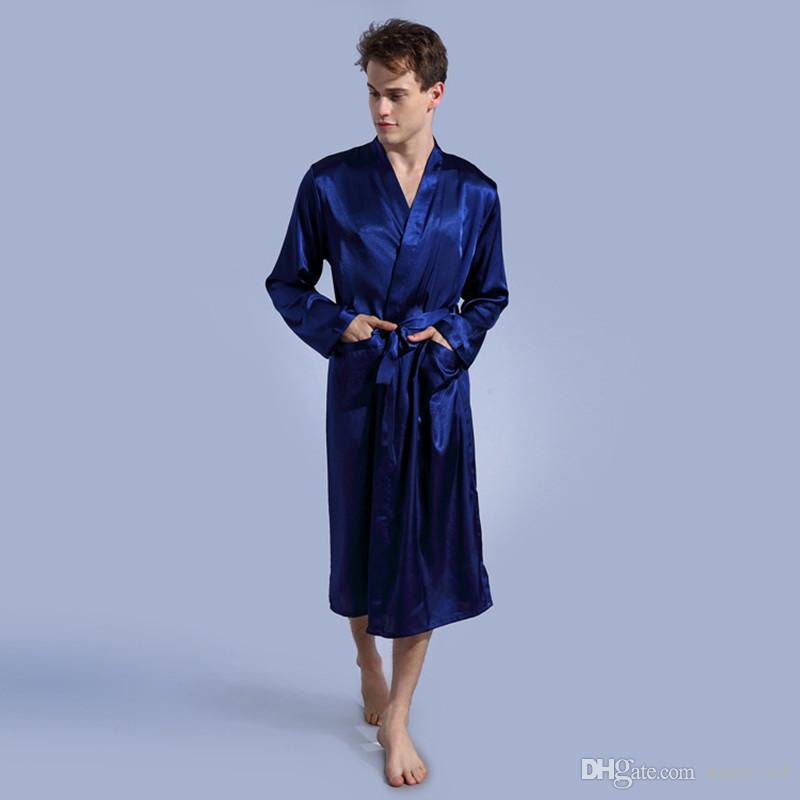 Mens Pure Color Robe Thin Improved Cardigan Underwear Loose Loose Length Long-sleeved Spring and Evening Gowns Mens Sleepwear