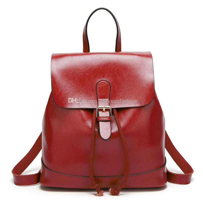 6a0446c9b2 Wholesale Fashion Vintage Women Simple Travel Backpack Bags Black Brown  Burgundy Dark Blue Coffee PU Shoulder Bags Handbag Rolling Backpack Toddler  ...