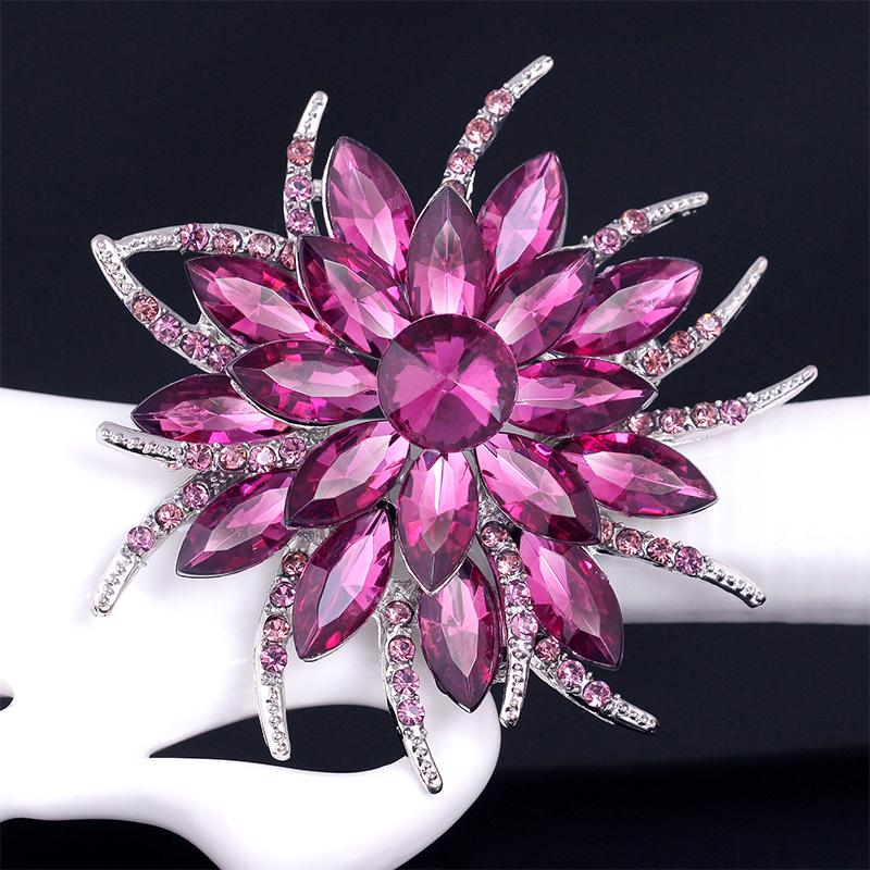 2.5 inch Fashion Jewelry 8 Color Crystal Acrylic Brooches Pins Brand Vintage Wedding Brooches Bouquet Flowers For Women Cloth Accessories