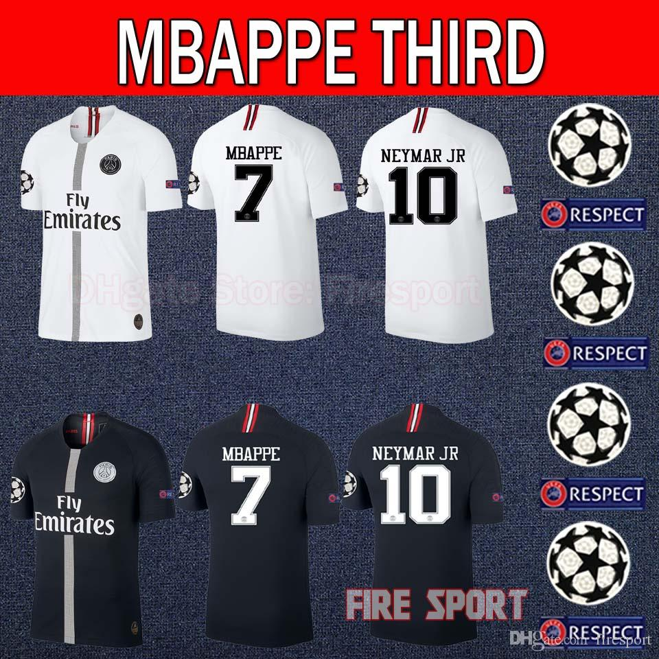 timeless design bec79 0966e Size S-XXL 2018 2019 Psg Third 3rd Black jersey 18 19 Champions League  MBAPPE CAVANI VERRATTI DI MARIA Soccer jerseys Paris football shirt