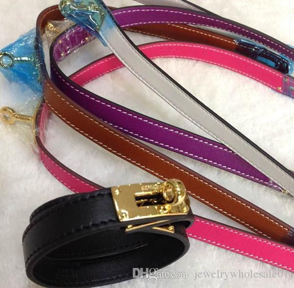 jewelry wholesale double leather bracelet fashion leather H round buckle bracelet cross pattern - plain choice