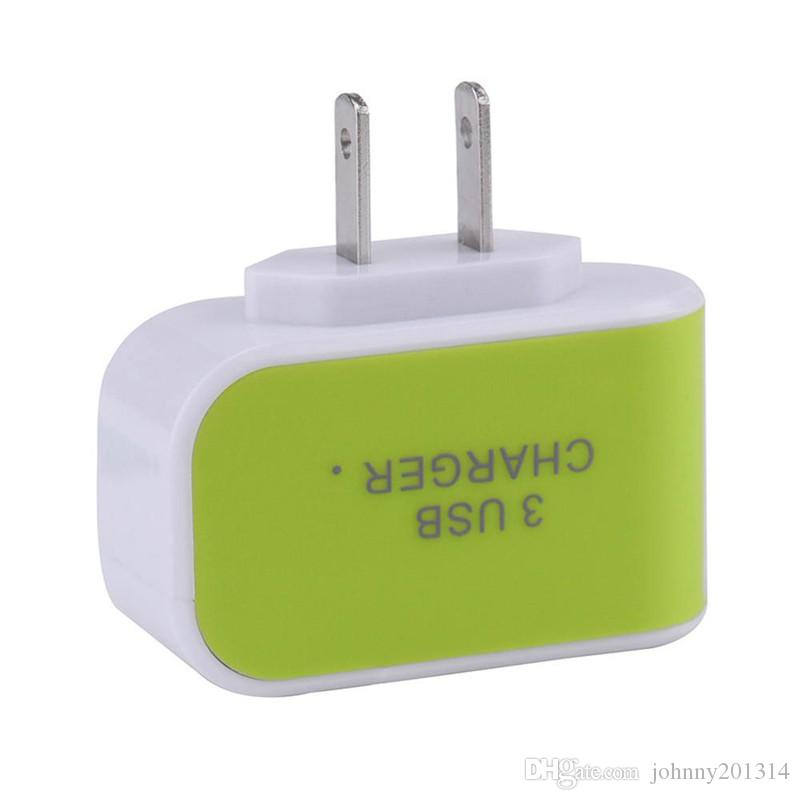 ABD, AB Tak 3 USB Duvar Şarj 5 V 3.1A LED Adaptörü Şarj Seyahat Cep Telefonu Için üçlü USB Portları ile Uygun Güç