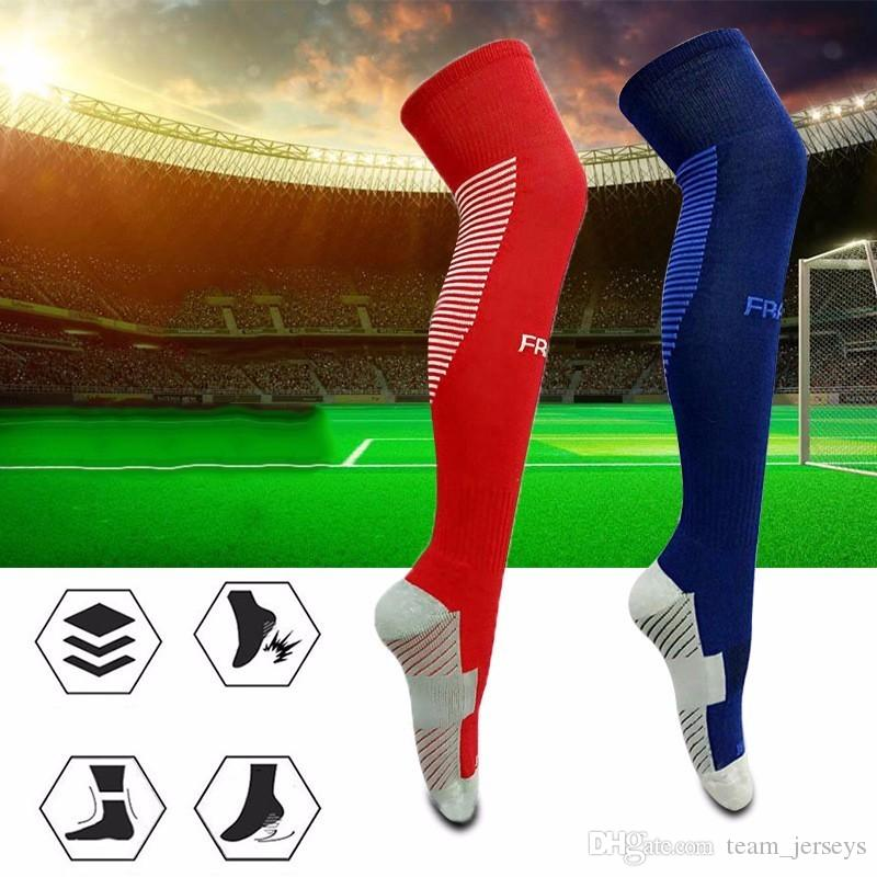 Anti-skid National Team Football Stockings Men Long Soccer Cycling Sock Footwear Knee High Leg Warmers Thicken Cotton Breathable Sports Sock