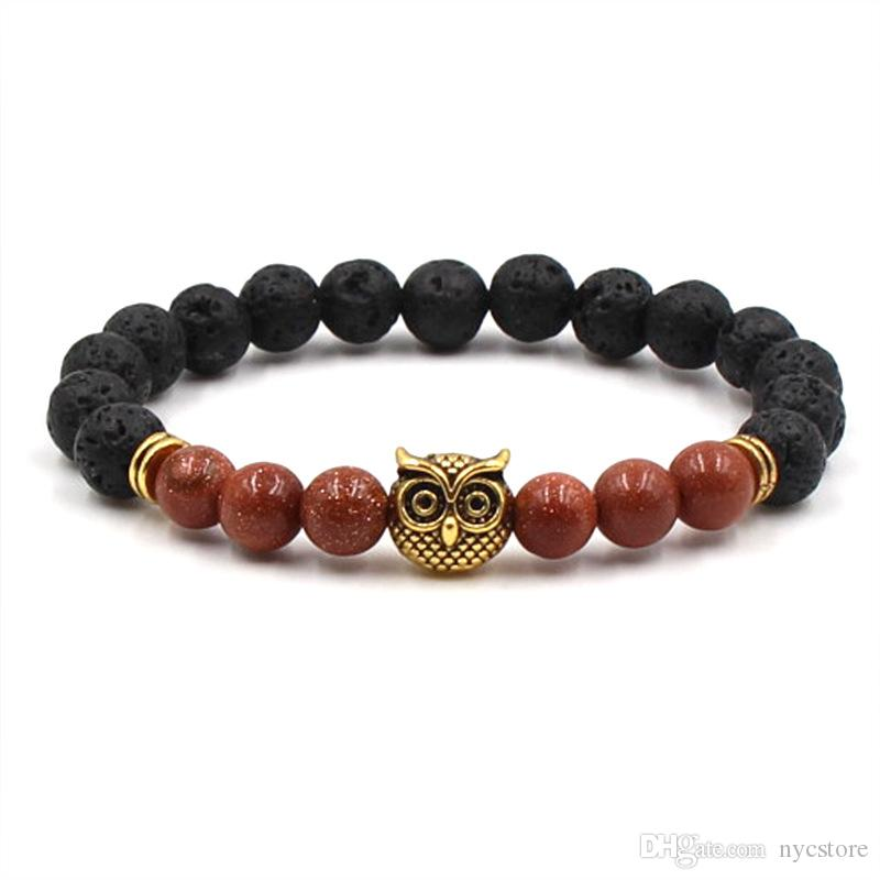 Moda Ágata Buda Beads Jewelry lava vulcânica Pedra coruja Cabeça Pulseira 8 mm Beads e Rocha vulcânica Pessoas Jóias Yoga Pulseira presente