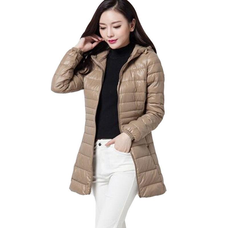 eacc1b421 2017 Women Coat Winter down Jacket Female 90% Duck Down Outwear Lady Parka  UL light Long Elegant Brand Down Parka size 5XL 6XL S916