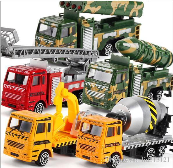 Diecast Metal Alloy Car Model Inertia Toys Car Model Alloy Head+ABS BODY Military Engineering Firefighting City 12 Styles