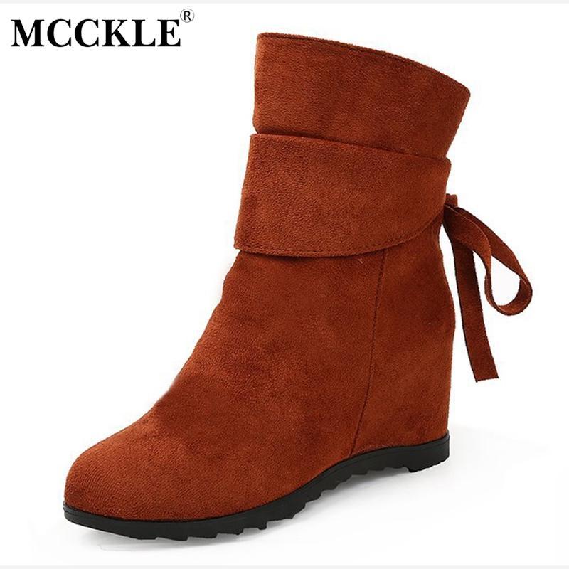 37e6dfae8fa Compre MCCKLE Mujeres Casual Botas De Tobillo De Invierno Damas Zapatos  Lerisure Calzado Femenino De Gamuza Bowtie Aumento De La Altura Botas  Cortas A $24.9 ...