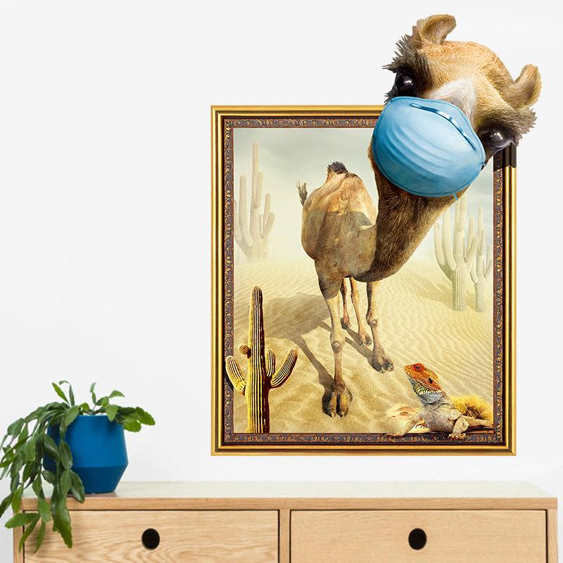 3d Camel Animals Wall Stickers For Bedroom Wall Home Decor Decals ...