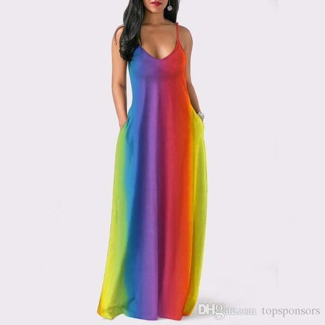 50aff61ef7e Bohemian Strap Pockets Rainbow Print Loose Summer Dresses fashion Women  Bandage bodycon Casual Sexy Long Maxi Dresses
