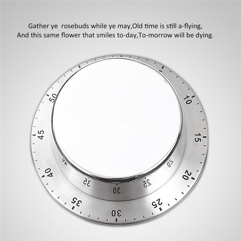 Round Stainless Steel Kitchen Timer Magnetic Cooking Alarm Clock Reminder Multifunctional Timer Kitchen Gadget