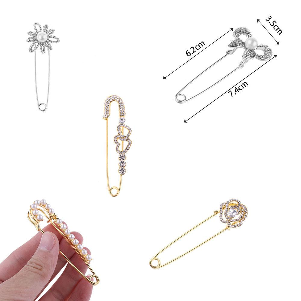 Charm Large Durable Rose Gold Crystal Metal Brooch Safety Rhinestone Brooch Pins Scarves Collar Sweater Neck Brooch Pins