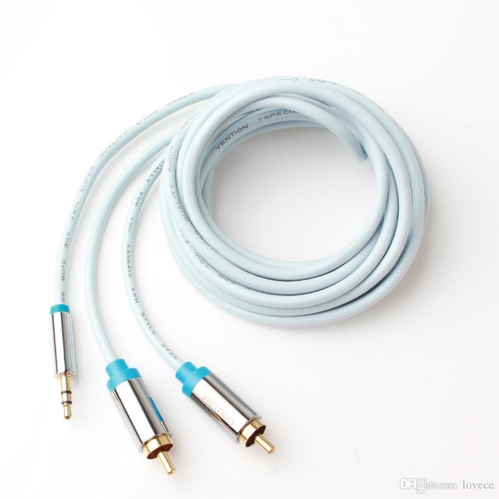 Vention 1M / 3.3Ft 3.5mm Plaqué Jack Jack mâle à 2 RCA Câble audio stéréo mâle pour Smartphones Ordinateurs portables PMP_10C