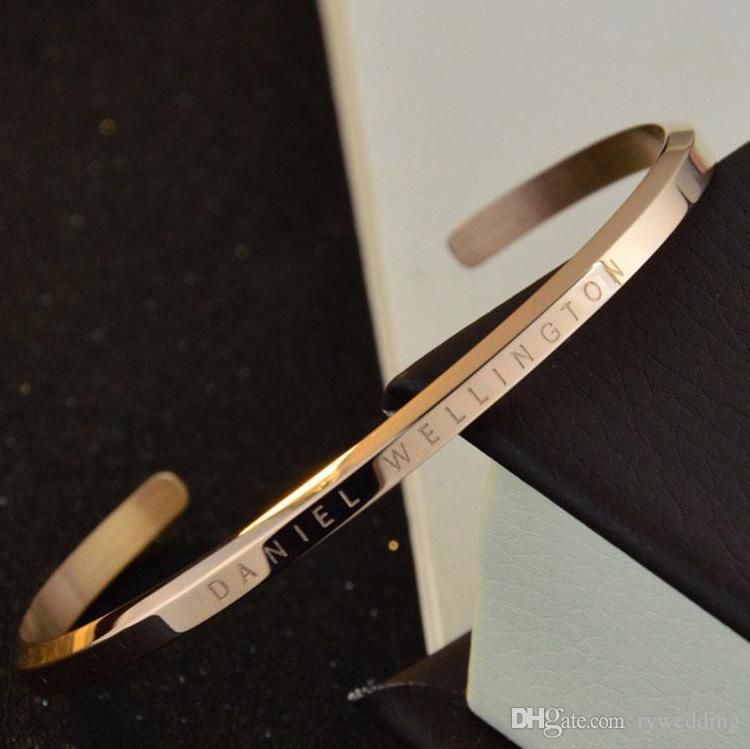 Manşet DW Bilezikler paslanmaz çelik Punk Rose Gold Gümüş Altın Kadın Bileklik ve Erkekler pulsera moda takı en kaliteli