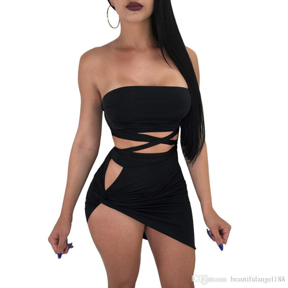 331b94b4383c 2019 Lace Up Two Piece Bandage Dress Women Sexy Club Mini Hollow Out Backless  Off Shoulder Bodycon Black Red Party Dresses From Beautifulangel188, ...