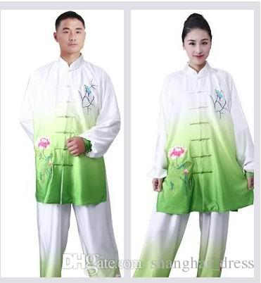 New Gradient Lotus Set of 2 Silk Taiji clothing spring practice martial arts show Embroidery